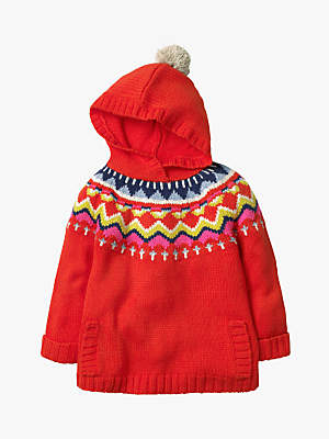 Boden Mini Girls' Cosy Knitted Hoodie, Gladioli Red
