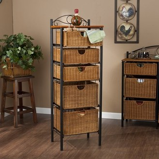 Southern Enterprises Iron and Wicker Five-Drawer Unit