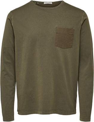 Selected Long-Sleeve Cotton Pocket Tee