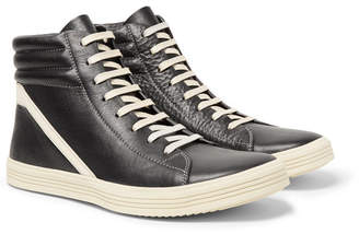 Rick Owens Geothrasher Two-tone Full-grain Leather High-top Sneakers