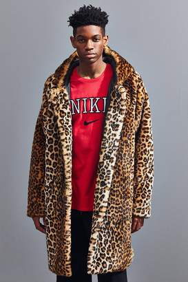 Urban Outfitters Long Hooded Faux Fur Leopard Print Coat