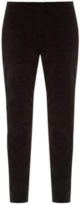 RED Valentino Slim Leg Velvet Cropped Trousers - Womens - Black