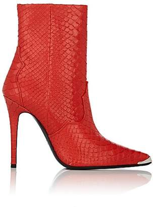 Amiri Women's Snakeskin-Embossed Leather Ankle Boots - Red