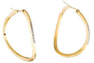 Roberto Coin 18K Diamond Wavy Hoop Earrings