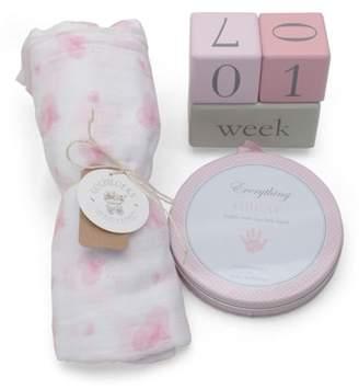 Child to Cherish Pink Heart Goldilocks Swaddle, Handprint & Photo Block Gift Set