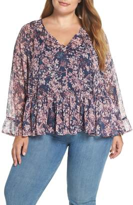 Lucky Brand Printed Ruffle Blouse