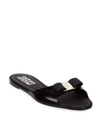 Salvatore Ferragamo Cirella Flat PVC Jelly Bow Slide Sandals, Black