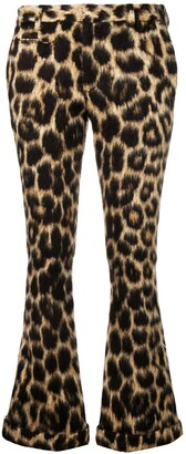 R 13 leopard print flared trousers