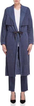 Lamberto Losani Blue Tie-Waist Overcoat