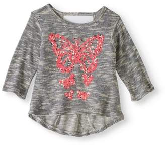 ONE STEP UP One Step Up Girls' Sequin Graphic Sweater Knit Top