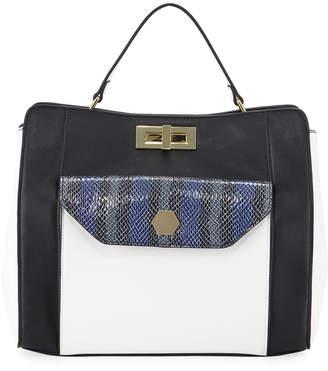 Neiman Marcus Hanna Faux-Leather Snakeskin Pocket Satchel Bag