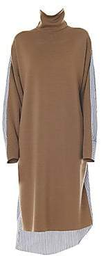 Tibi Women's Merino Wool Mixed Media Midi Dress