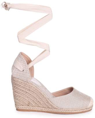 190717204 BEIGE Linzi MEGHAN Canvas Closed Toe Espadrille Wedge With Tie Up Straps