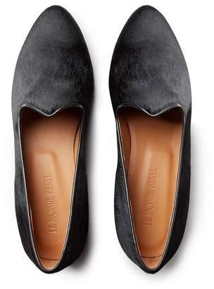 Le Monde Beryl Black Calf Hair Venetian Slipper