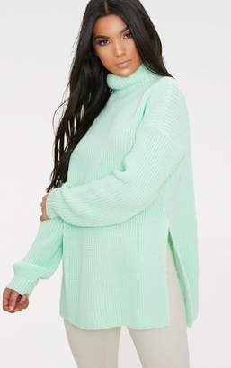 PrettyLittleThing Mint High Neck Oversized Jumper
