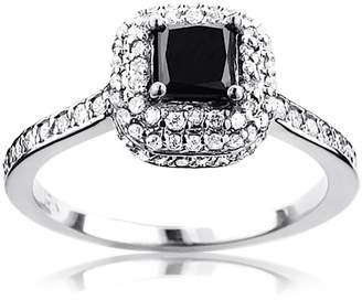 Black Diamond Unique and Halo Engagement Ring 10K Gold by Luxurman 1CT