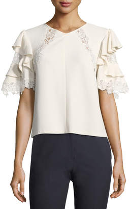 Rebecca Taylor Short-Sleeve Crepe Top w/ Lace