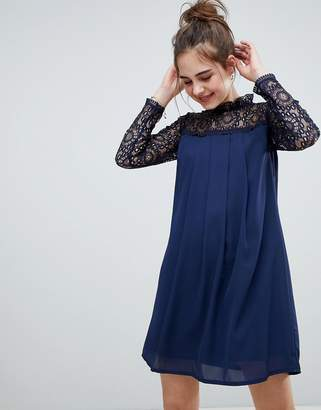 Elise Ryan High Neck Swing Dress With Lace Upper