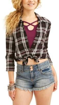No Boundaries Juniors' Plaid Button Front Blouse & Caged T-Shirt 2Fer