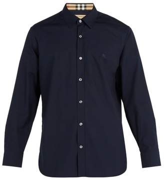 Burberry - Logo Embroidered Cotton Blend Shirt - Mens - Navy