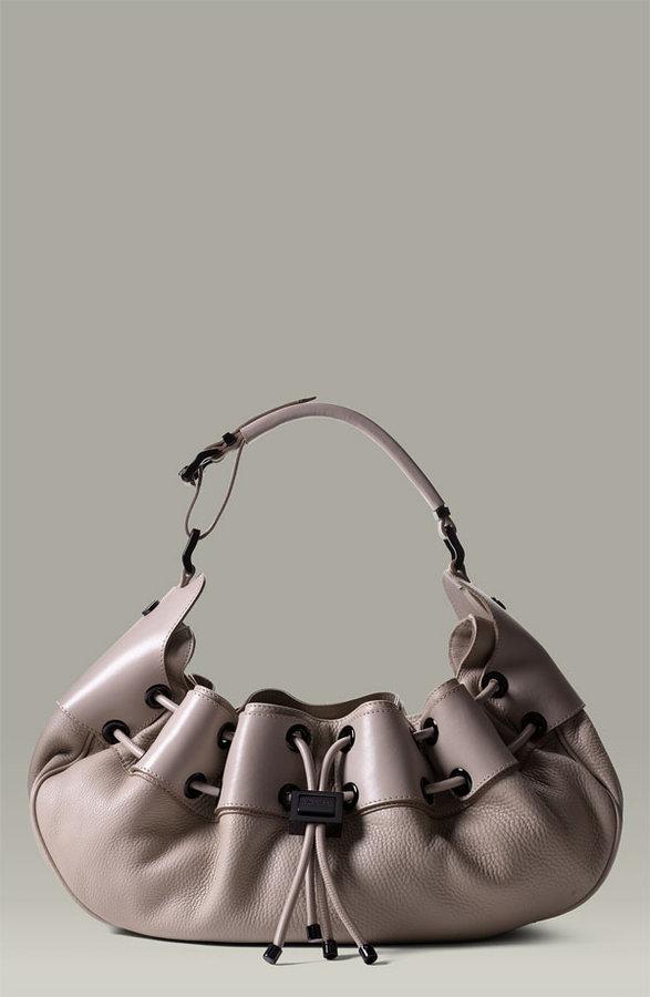 Burberry Drawstring Leather Hobo