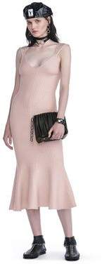 Alexander Wang Ribbed Tank Dress With Lingerie Bra Strap Detail