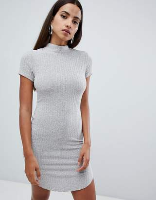 AX Paris ribbed short sleeve dress with curved hem