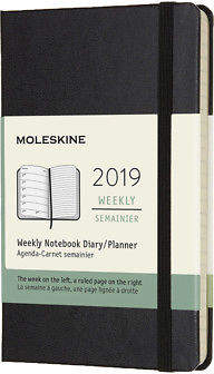 Moleskine NEW 2019 Weekly Diary Hard Cover Black Pocket
