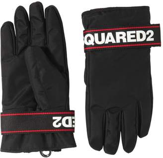 DSQUARED2 LOGO PRINT NYLON SKI GLOVES