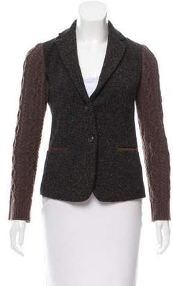Max Mara Weekend Cable Knit-Accented Tweed Blazer