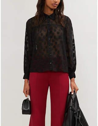 Claudie Pierlot Spot-patterned chiffon shirt