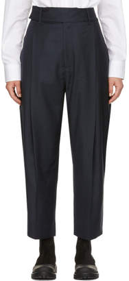 Studio Nicholson Navy Twist Pleat Trousers