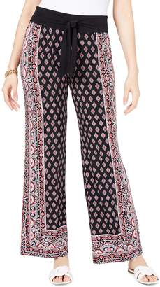 INC International Concepts Petite Printed Tie-Waist Wide-Leg Pants