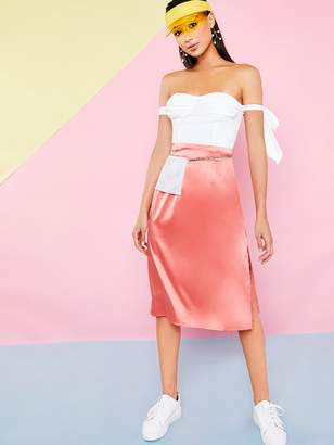 Shein Solid Split Thigh Zip Side Satin Skirt