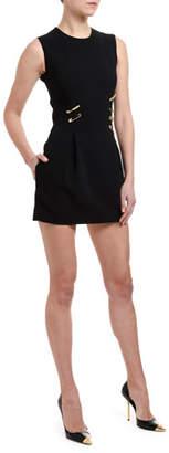 Versace Sleeveless Safety-Pin Trim Cocktail Dress