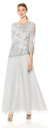 J Kara Women's 3/4 Floral Beaded Pop Over Gown