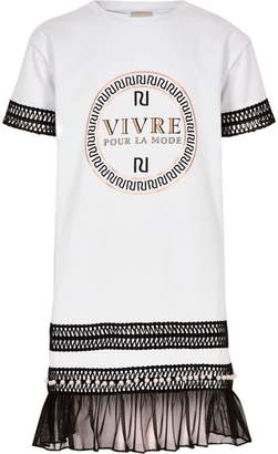 River Island Girls White RI embroidered T-shirt dress