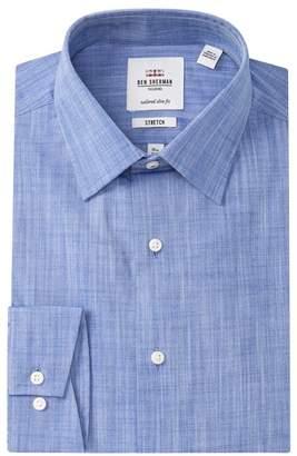 Ben Sherman Tailored Slim Fit Heathered Denim Dress Shirt