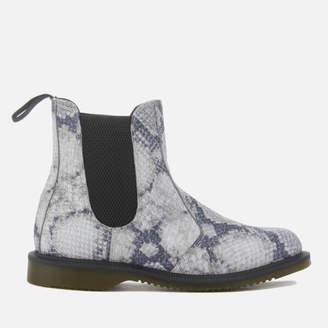 Dr. Martens Women's Flora Snake Print Chelsea Boots - Light Grey
