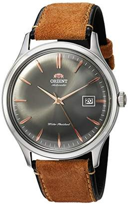 Orient Men's 'Bambino Version 4' Japanese Automatic Stainless Steel and Leather Dress Watch