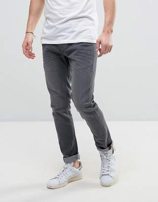 Solid Slim Fit Jeans In Mid Gray Wash With Stretch
