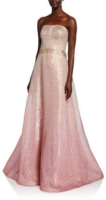 Rene Ruiz Collection Strapless Ombre Bustier A-Line Gown