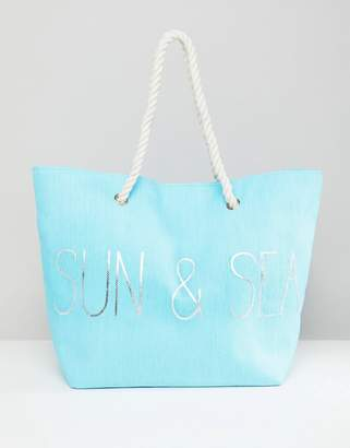 South Beach Blue Sun & Sea Beach Bag