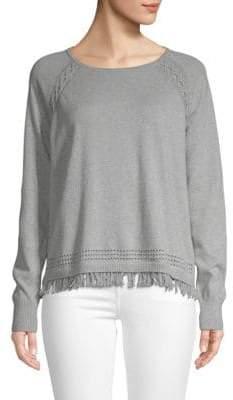Autumn Cashmere Fringed Cotton Sweatshirt