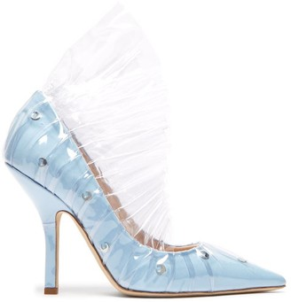 Midnight 00 - Shell Crescent Cotton & Pvc Ruffle Pumps - Womens - Light Blue