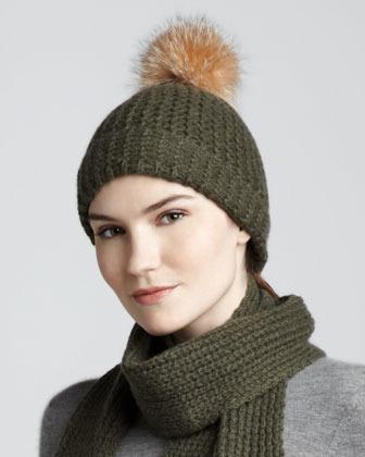 Sofia Cashmere Fur-Pom Cashmere Cap