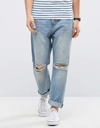 Kiomi Relaxed Fit Jeans with Ripped Knee