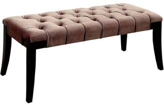 Furniture of America Gabriele Modern Button Tufted Flannelette Fabric Bench, Multiple Colors