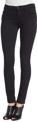 J Brand Mid-Rise Super-Skinny Ankle Jeans, Seriously Black