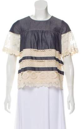Anna Sui Lace-Accented Short Sleeve Top